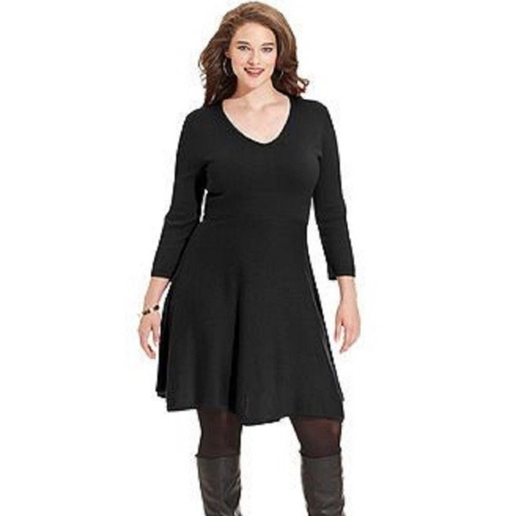 Women\'s Sweater Dress V-Neck Black PLUS SIZE 1X NWT